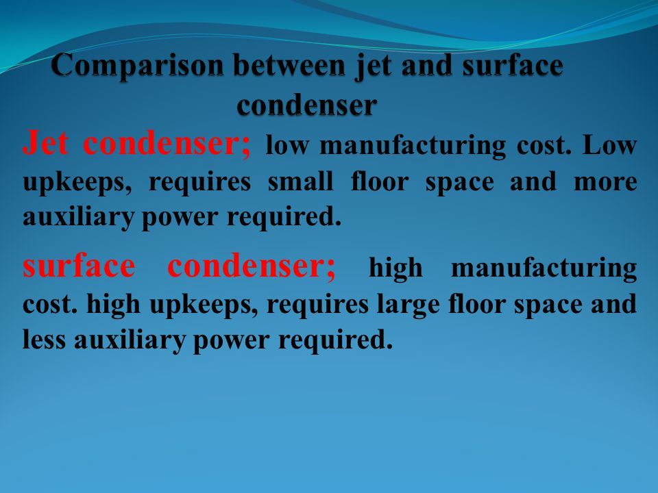 Comparison between jet and surface condenser