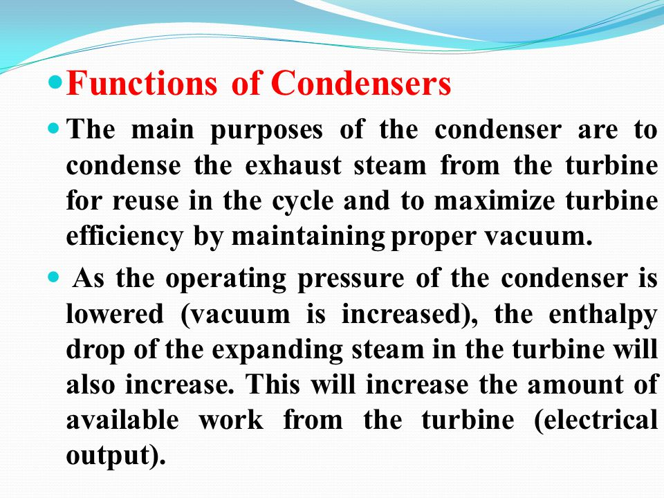 Functions of Condensers
