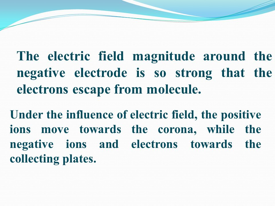 The electric field magnitude around the negative electrode is so strong that the electrons escape from molecule.