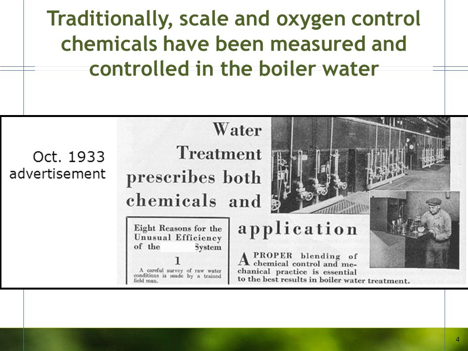 Traditionally, scale and oxygen control chemicals have been measured and controlled in the boiler water