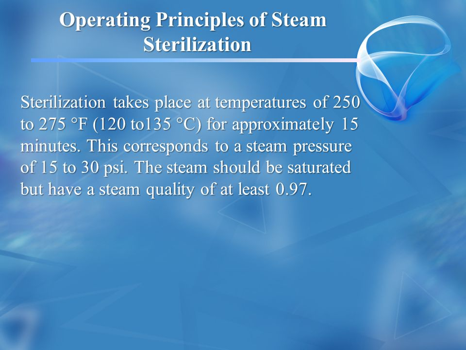 Operating Principles of Steam Sterilization