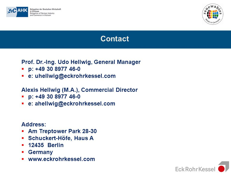 Contact Prof. Dr.-Ing. Udo Hellwig, General Manager