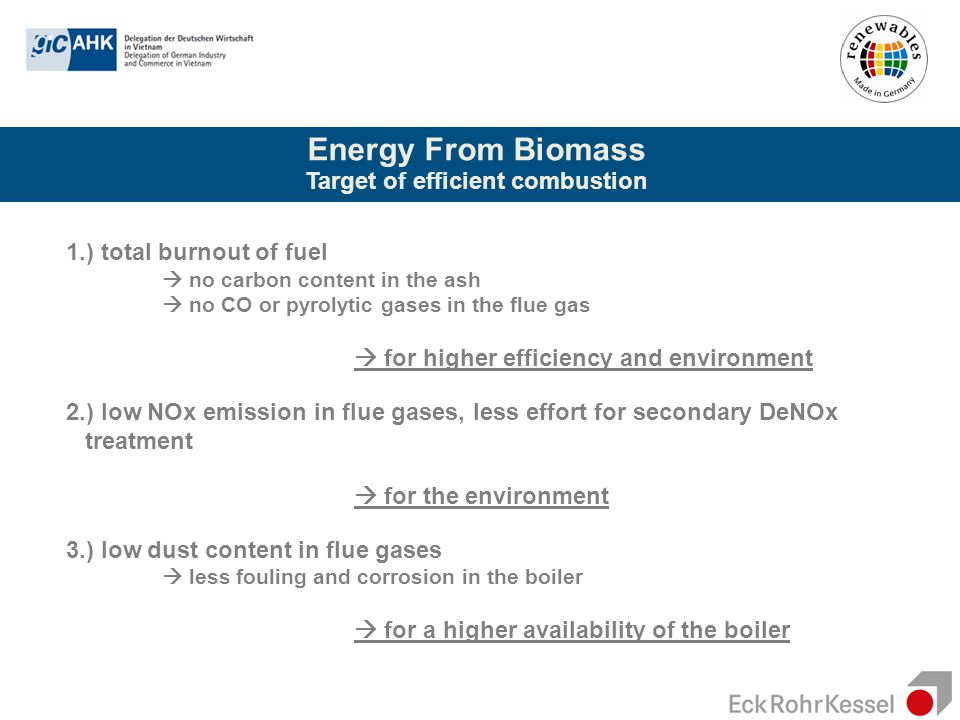 Energy From Biomass Target of efficient combustion