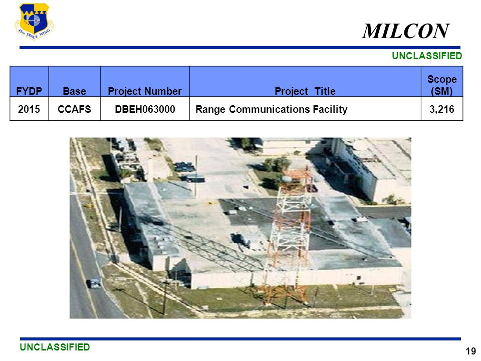 MILCON FYDP Base Project Number Project Title Scope (SM) 2015 CCAFS
