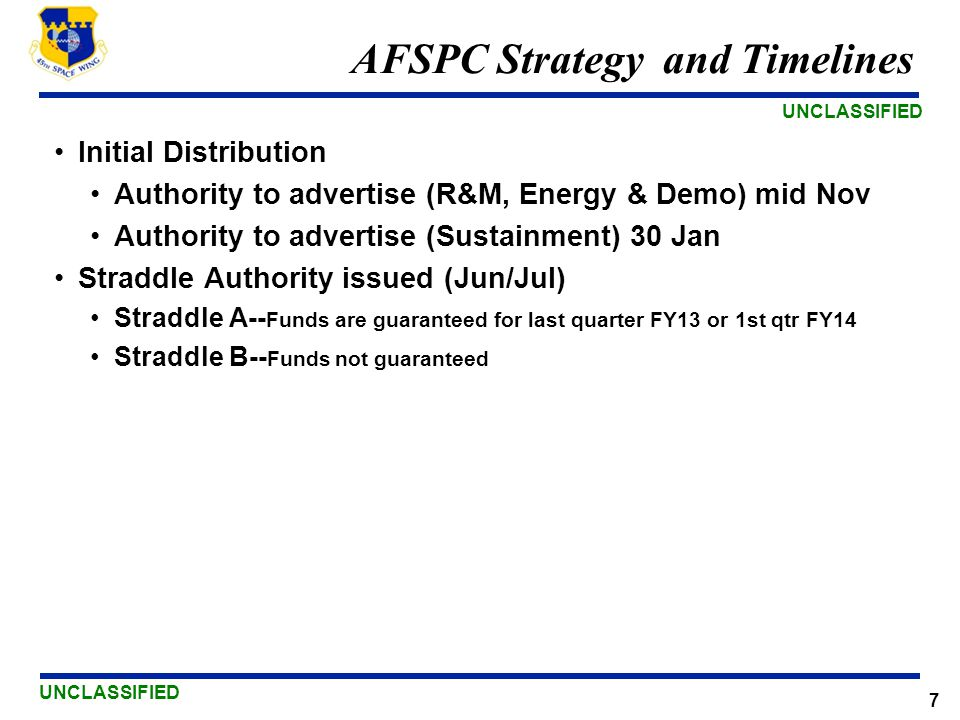 AFSPC Strategy and Timelines