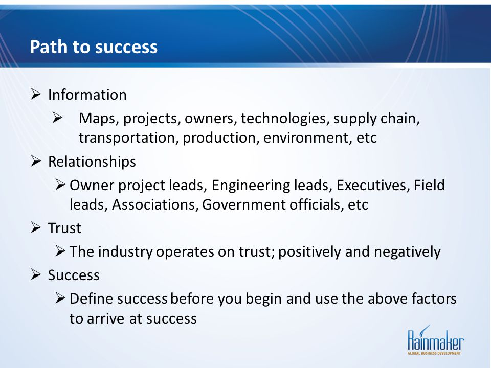 Path to success Information