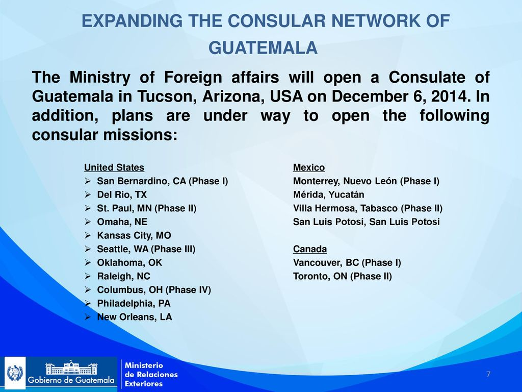 ADVANCES AND NEW ACTIONS RELATING TO CONSULAR MATTERS