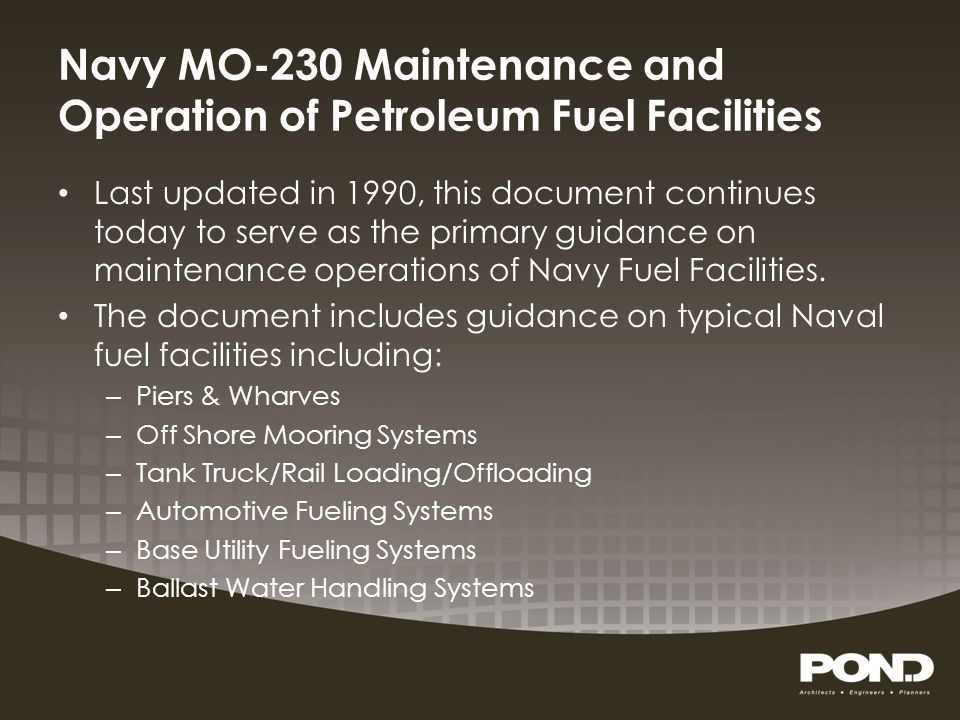 Navy MO-230 Maintenance and Operation of Petroleum Fuel Facilities