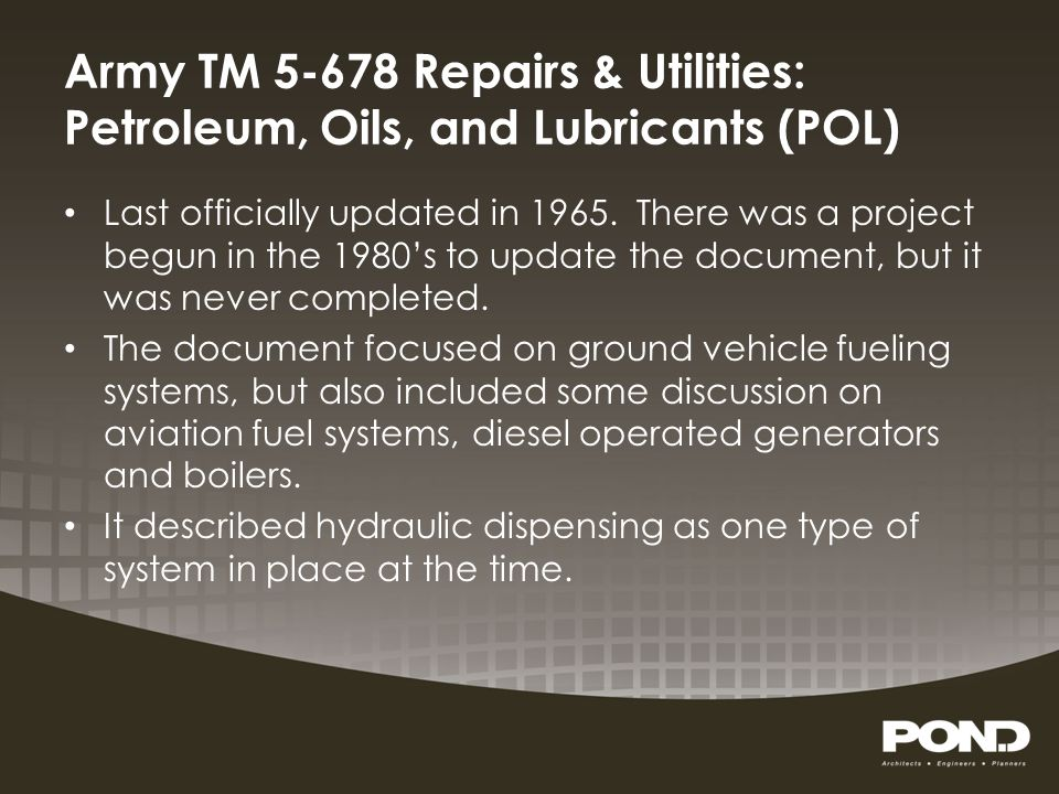 Army TM 5-678 Repairs & Utilities: Petroleum, Oils, and Lubricants (POL)