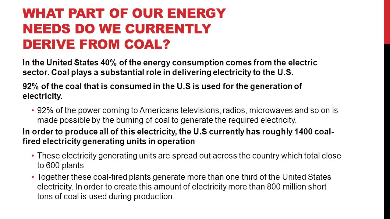 What part of our energy needs do we currently derive from coal