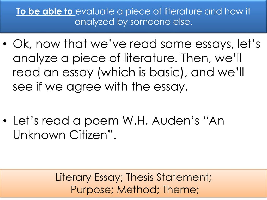 thesis basics how to write a literary essay wh audens poem and