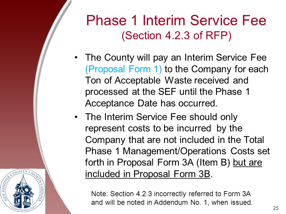 Phase 1 Interim Service Fee (Section 4.2.3 of RFP)