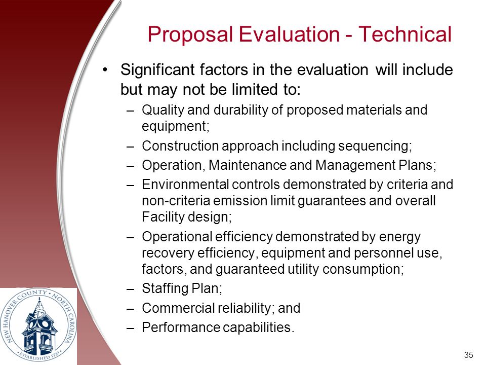 Proposal Evaluation - Technical