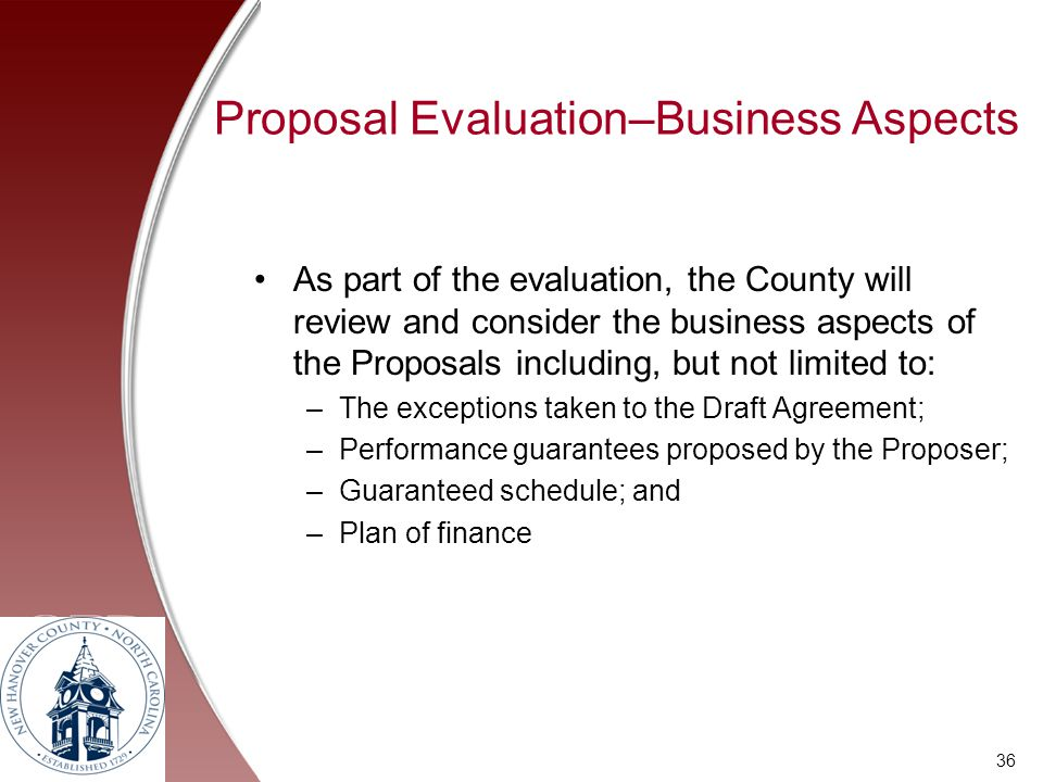 Proposal Evaluation–Business Aspects