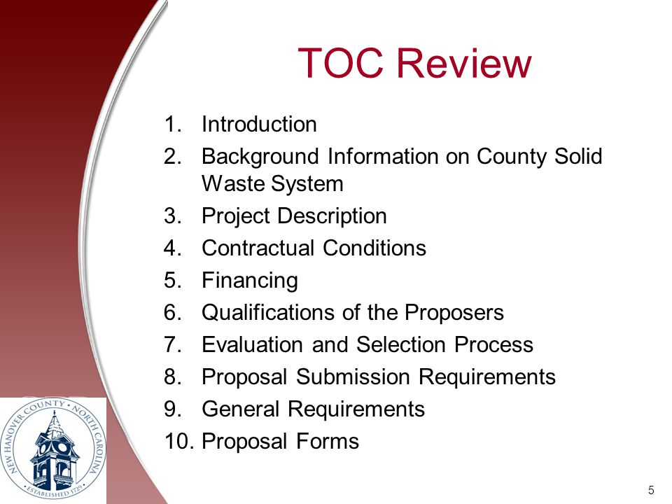 TOC Review Introduction