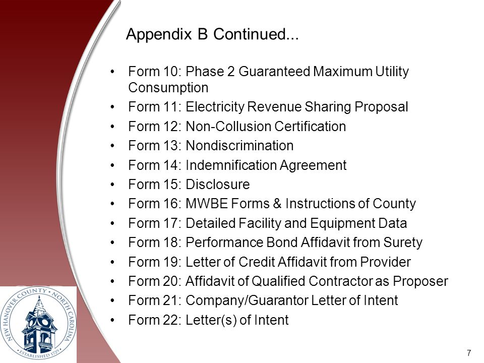 Appendix B Continued... Form 10: Phase 2 Guaranteed Maximum Utility Consumption. Form 11: Electricity Revenue Sharing Proposal.