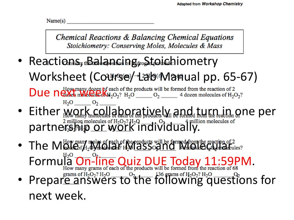 Stoichiometry Grams To Grams Worksheet