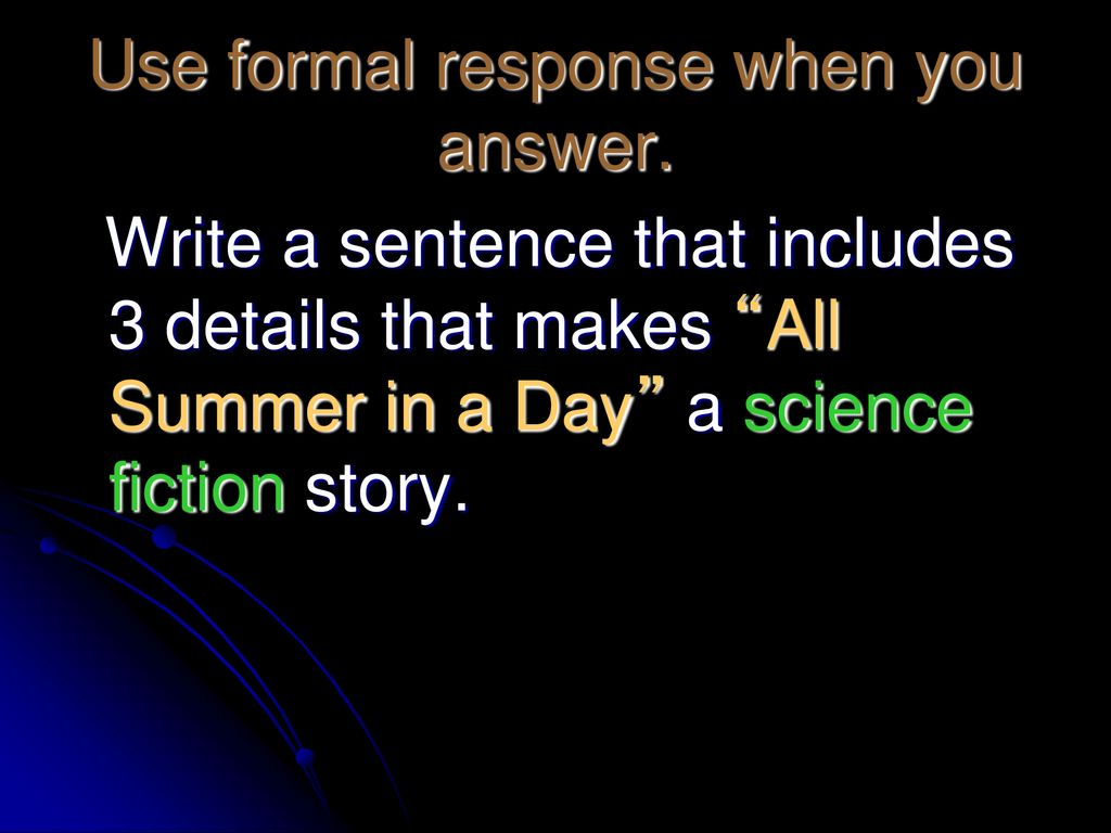 image regarding All Summer in a Day Worksheet identify All Summer time within a Working day\u201d By means of Ray Bradbury. - ppt obtain