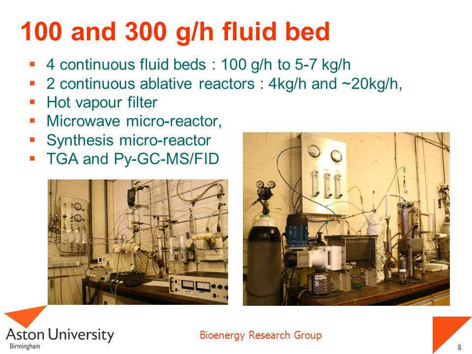 100 and 300 g/h fluid bed 4 continuous fluid beds : 100 g/h to 5-7 kg/h. 2 continuous ablative reactors : 4kg/h and ~20kg/h,
