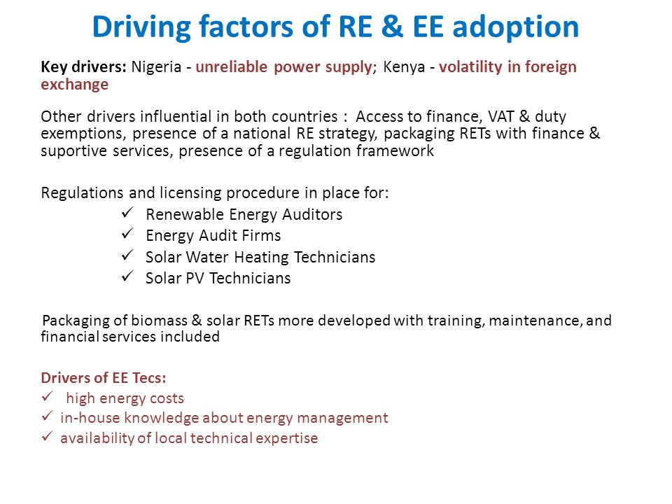 Driving factors of RE & EE adoption