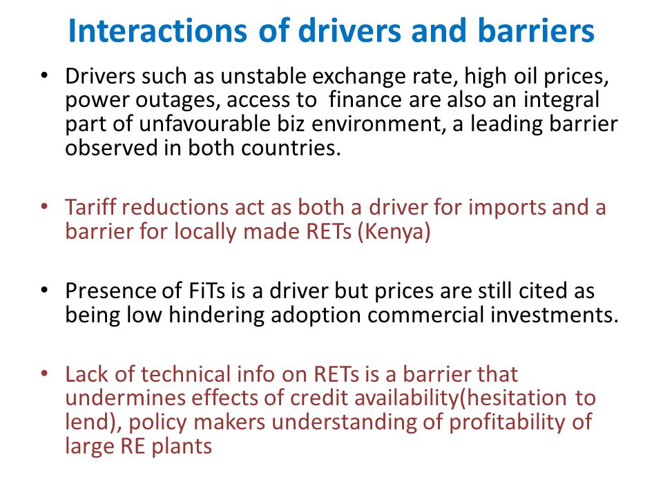 Interactions of drivers and barriers