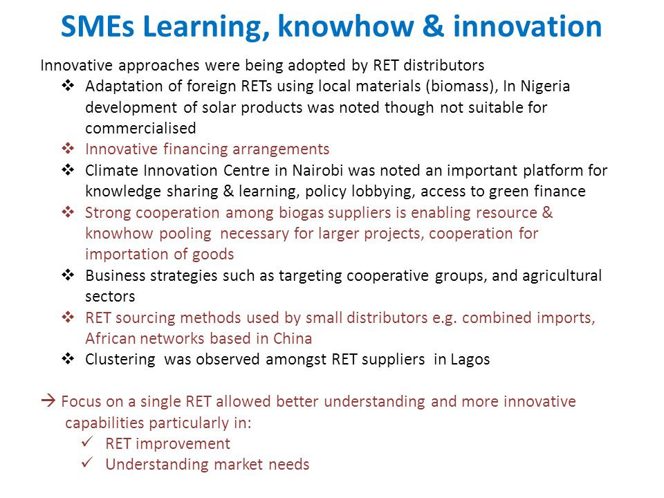 SMEs Learning, knowhow & innovation