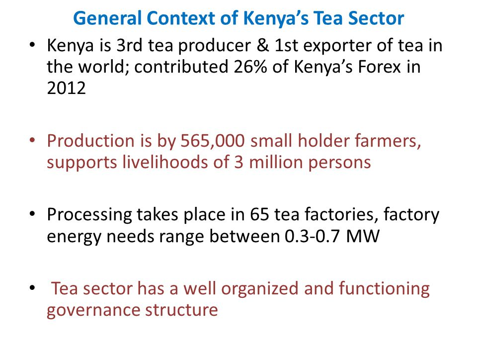 General Context of Kenya's Tea Sector