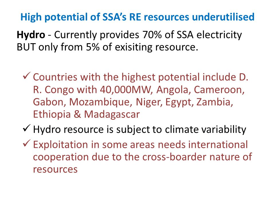 High potential of SSA's RE resources underutilised