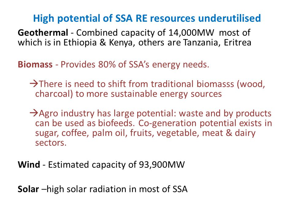 High potential of SSA RE resources underutilised