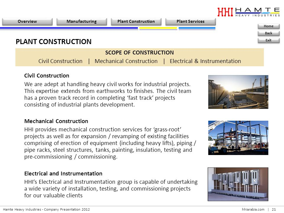 PLANT CONSTRUCTION SCOPE OF CONSTRUCTION