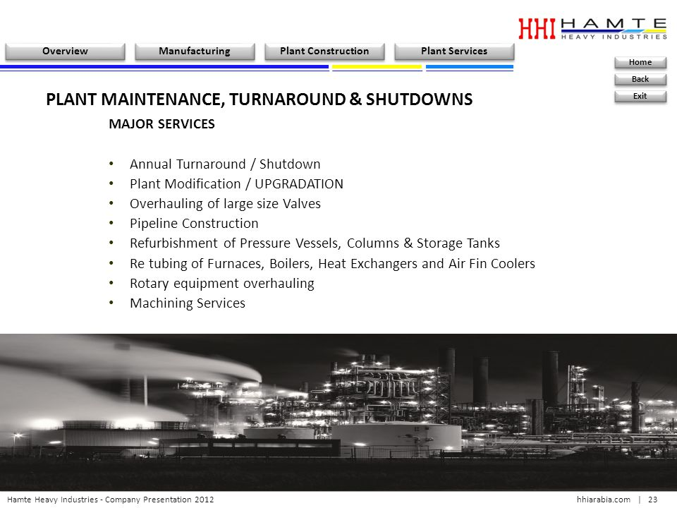 PLANT MAINTENANCE, TURNAROUND & SHUTDOWNS
