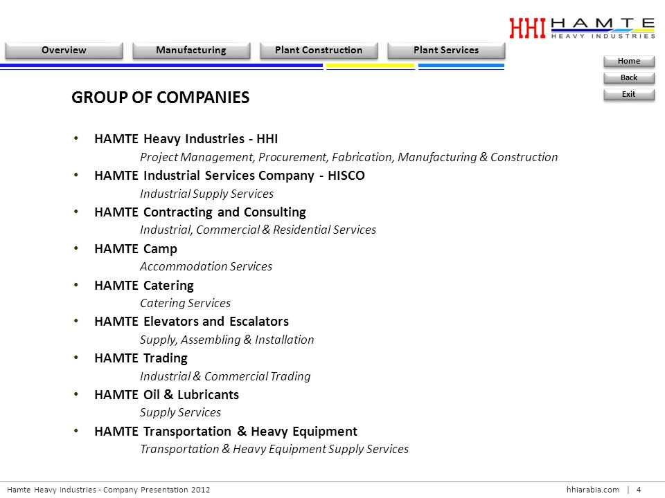 GROUP OF COMPANIES HAMTE Heavy Industries - HHI