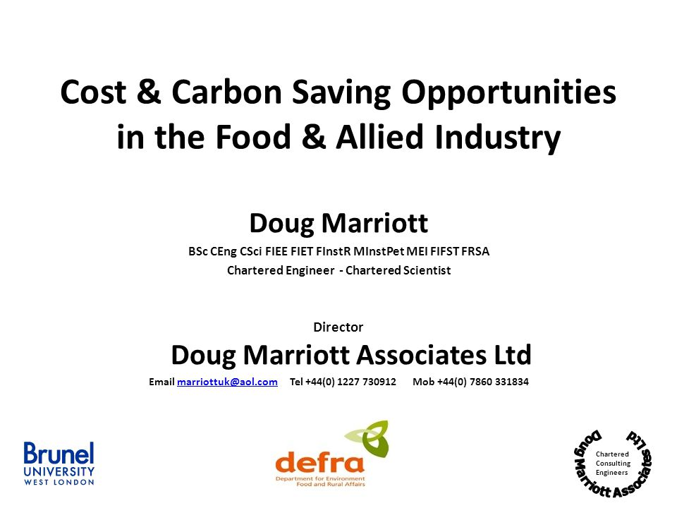 Cost & Carbon Saving Opportunities in the Food & Allied Industry