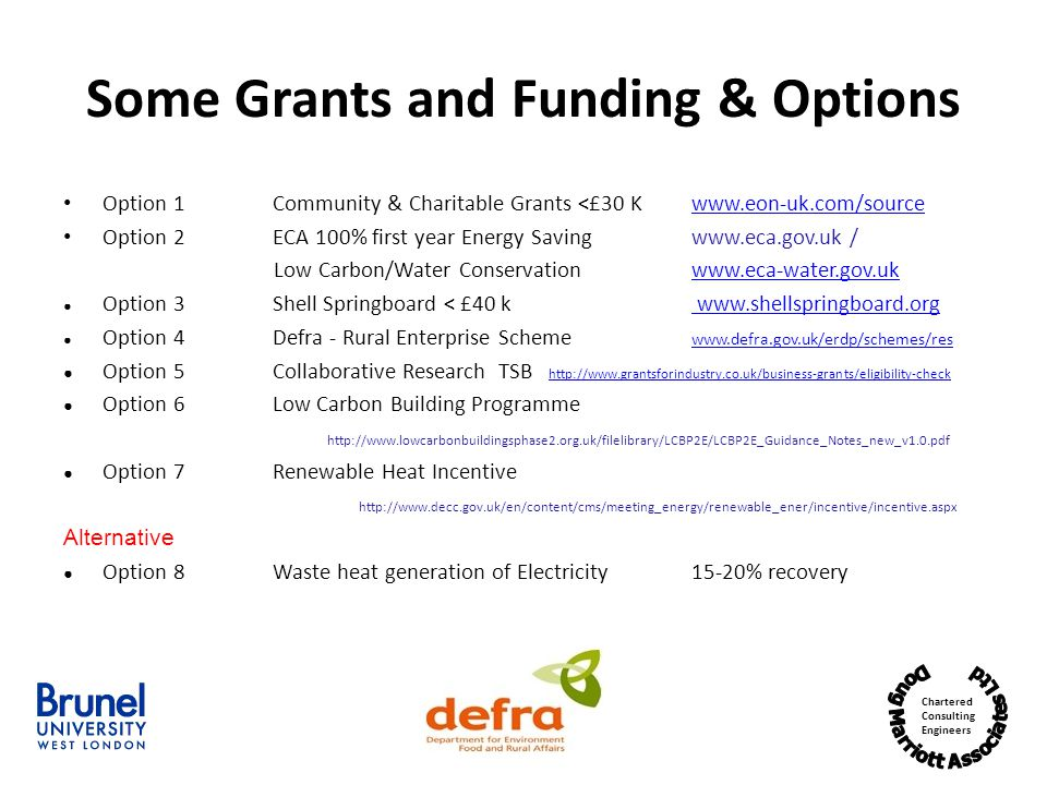 Some Grants and Funding & Options