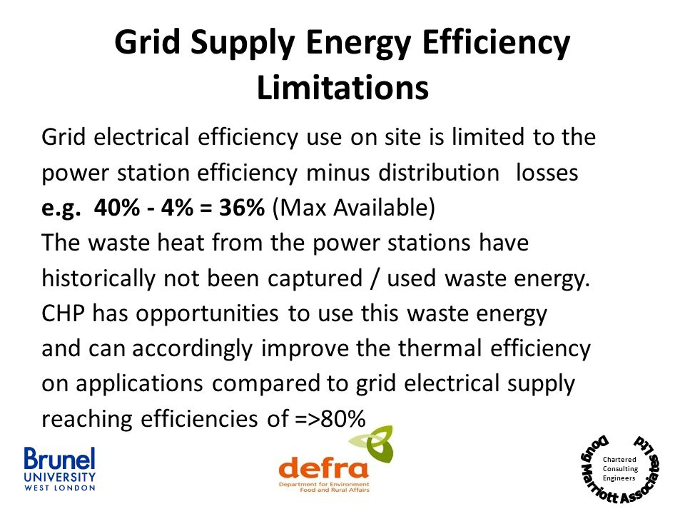 Grid Supply Energy Efficiency Limitations