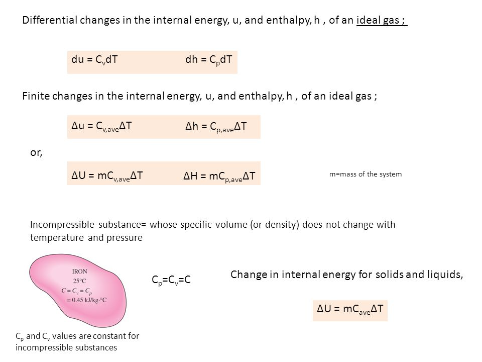 Change in internal energy for solids and liquids, Cp=Cv=C