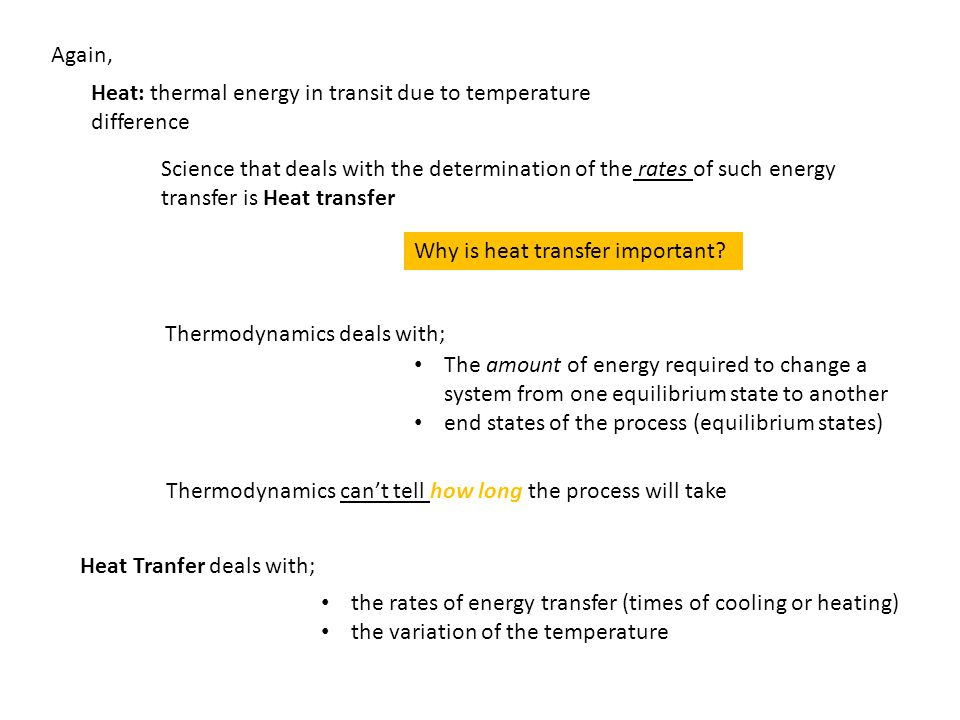 Again, Heat: thermal energy in transit due to temperature difference.