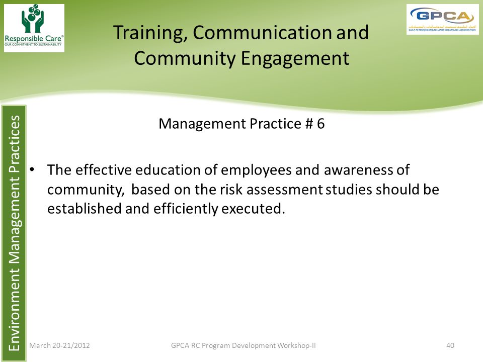 Training, Communication and Community Engagement