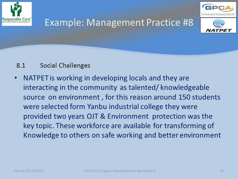 Example: Management Practice #8