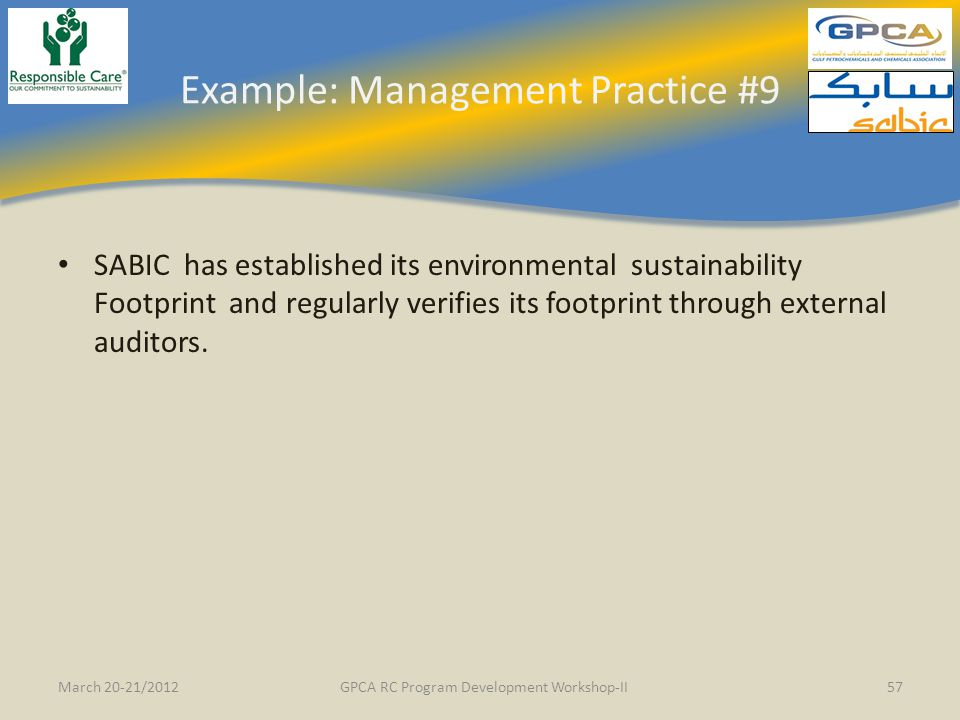 Example: Management Practice #9