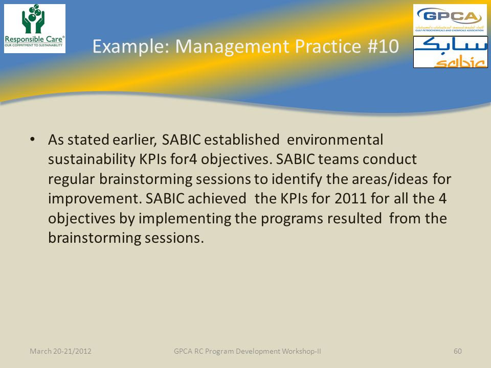 Example: Management Practice #10