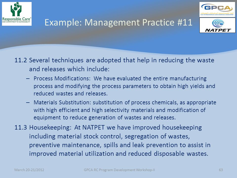 Example: Management Practice #11