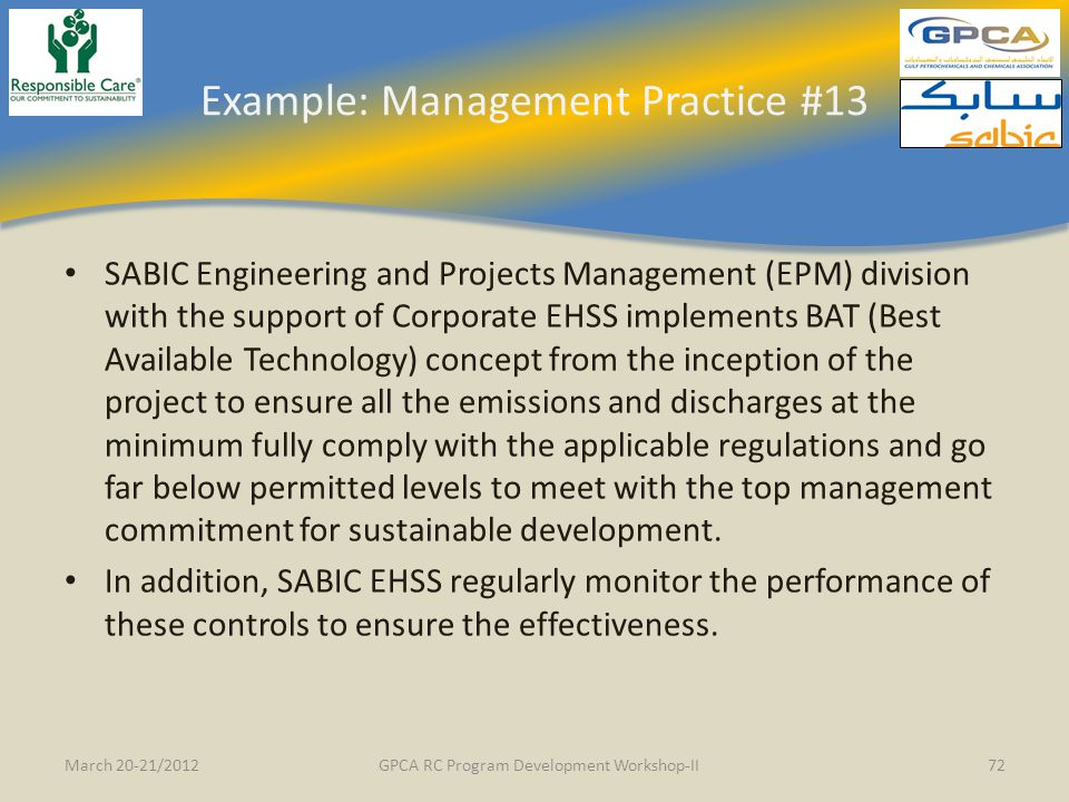 Example: Management Practice #13