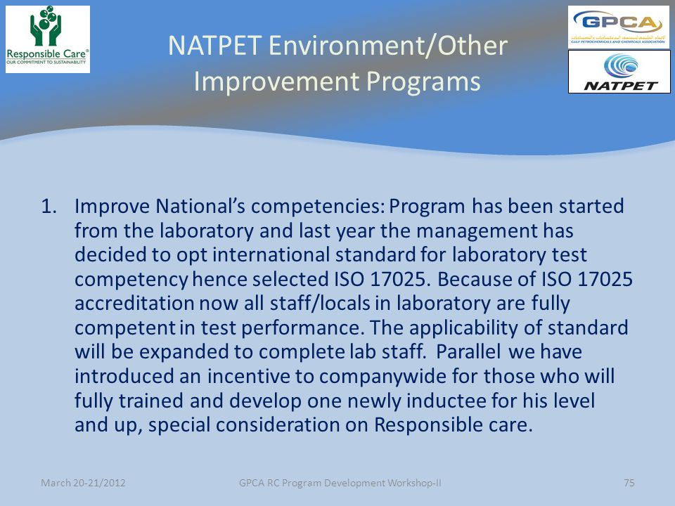 NATPET Environment/Other Improvement Programs