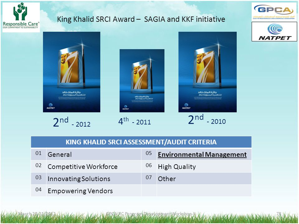 KING KHALID SRCI ASSESSMENT/AUDIT CRITERIA