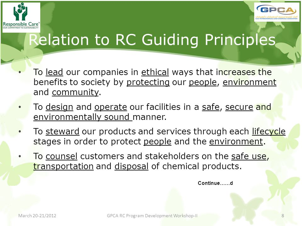 Relation to RC Guiding Principles