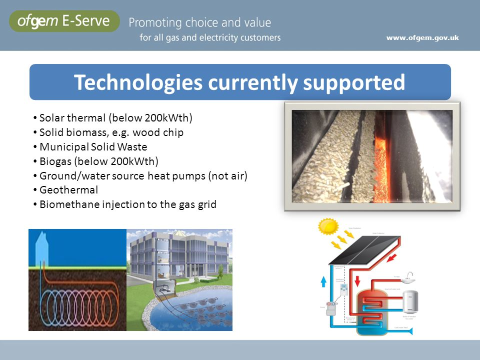 Technologies currently supported