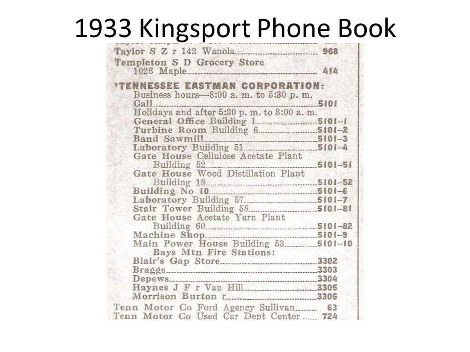 1933 Kingsport Phone Book