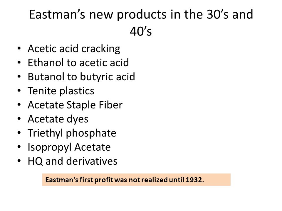 Eastman's new products in the 30's and 40's