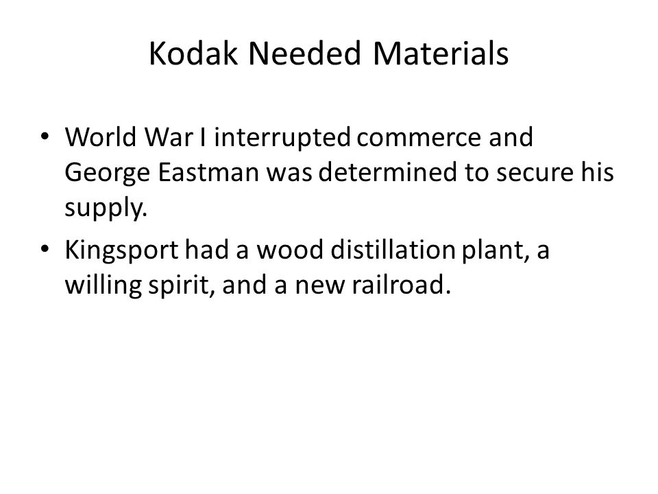 Kodak Needed Materials